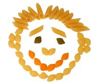 Macaroni in the form of the smiling person Stock Photo