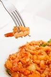 Macaroni fried and shrimp Stock Photography