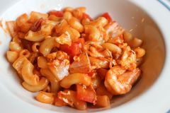 Macaroni of garnalenmacaroni royalty-vrije stock foto