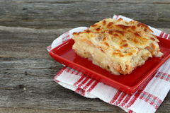 Macaroni gratin with salmon in a red plate. On a dishtowel Stock Photos