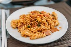 Macaroni with Ham in Restaurant at Luang Prabang, Laos Stock Image