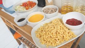 Macaroni ingredients with seasoning and raw material for making Royalty Free Stock Image