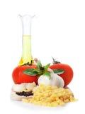 Macaroni ingredients on white background Royalty Free Stock Photos