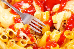 Macaroni and ketchup Stock Photos