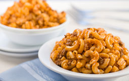 Macaroni meat tomato sauce horizontal Stock Photos