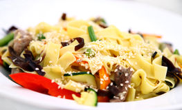 Macaroni with meat and vegetables Stock Images