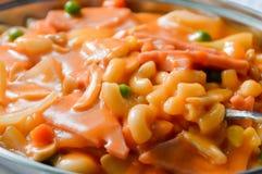 Macaroni met Ham en Tomatensaus Royalty-vrije Stock Foto's