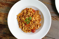 Macaroni met tomaat Stock Foto