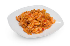 Macaroni met tomatensaus royalty-vrije stock afbeelding