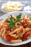 Macaroni met wijsje en tomatoe Royalty-vrije Stock Fotografie