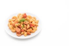 macaroni met worst royalty-vrije stock afbeelding