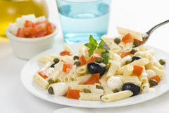 Macaroni mozzarella olives capers tomatoes salad Royalty Free Stock Photo