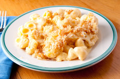 Macaroni noodles, cheese with toasted breadcrumb topping  Royalty Free Stock Image
