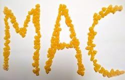 Macaroni op MAC-tekst Stock Foto