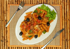 Macaroni pasta with bolognese sauce and parmesan cheese Royalty Free Stock Photos