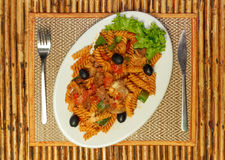 Macaroni pasta with bolognese sauce and parmesan cheese Stock Images