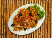 Macaroni pasta with bolognese sauce and parmesan cheese Royalty Free Stock Photography