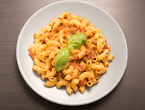 Macaroni pasta garnish with basil leaves Royalty Free Stock Images