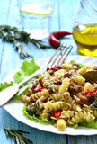 Macaroni (pasta) with meat stew. Stock Image