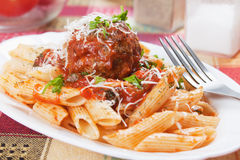 Macaroni pasta with meatballs Stock Photography