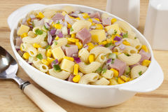 Macaroni Pasta Salad with Ham and Cheese Stock Photos