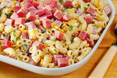 Macaroni Pasta Salad with Ham and Cheese. Macaroni salad with ham, cheese, corn, red onion and cucumber, and a light dressing made from mayonnaise and low fat Stock Images