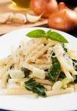Macaroni pasta with silverbeet