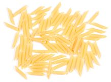 Macaroni pile of feathers on a white background. Top view stock photo