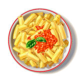 Macaroni plate with tomato sauce and basil, viewed from top. Macaroni plate with tomato sauce and basil, viewed from top, with drop shadow at white background Stock Photo