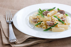 Macaroni with sausage and green beans Royalty Free Stock Photos