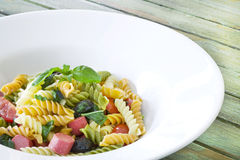 Macaroni with sausage and olive Royalty Free Stock Photography