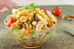 Macaroni served with cheese vegetables and parsley Royalty Free Stock Photo