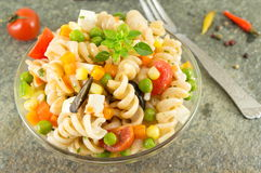 Macaroni served with cheese vegetables and parsley Royalty Free Stock Image