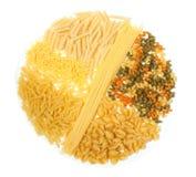 Macaroni and spaghetti. Isolated on white background Royalty Free Stock Photos