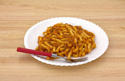 Macaroni Tomato Beef Sauce Plate Fork Stock Images