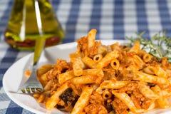 Macaroni with tomato Stock Photography