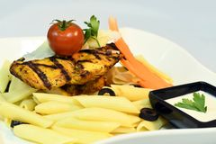 Macaroni With Tomato and Grilled Chicken Royalty Free Stock Photo