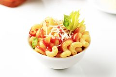 Macaroni with tomato sauce and cheese Royalty Free Stock Photography