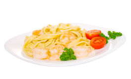 Macaroni withe shrimp Royalty Free Stock Photos