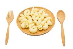 Macaroni on the wooden dish Royalty Free Stock Photos