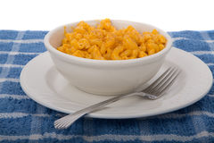 Macaronie and Cheese in White Bowl Stock Images