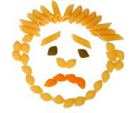 Macaronis sous forme de personne triste Images stock
