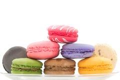 Macarons在白色背景隔绝了 免版税库存照片