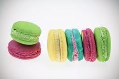 Macarons设置了与葡萄酒图片样式或甜图片样式 免版税库存照片