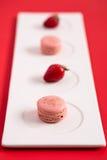 Macarons клубники Стоковое фото RF