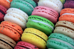 Macarons. French colorful macarons, with various colors and flavors Royalty Free Stock Images