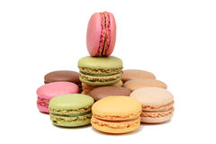 Macarons. Traditional French sweets,macarons,isolated against a white background Stock Photos