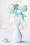 Macarons. Macaron lolllipops in blue and white Stock Photos