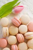 Macarons from above with tulip Stock Photo