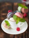 Macarons assortis de colofrul avec les baies fraîches Photographie stock libre de droits
